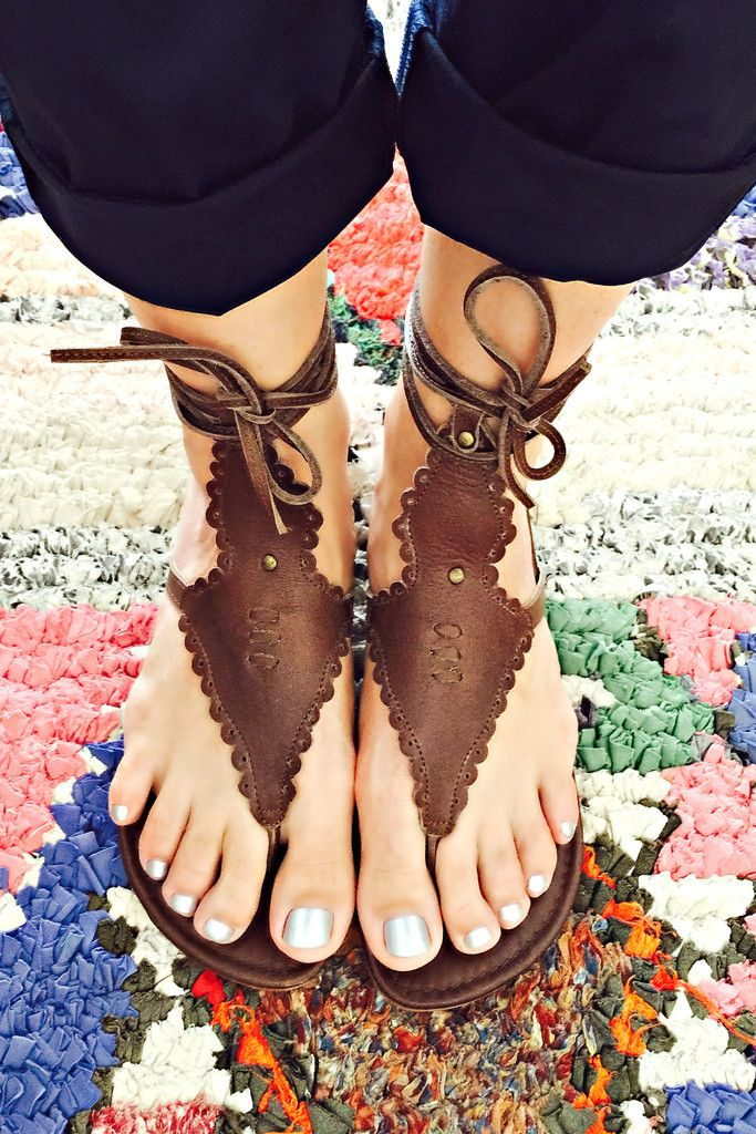 Divine Wildflower wrap up leather sandals. Featuring hand cut detailing, scallop shaped edges and leather laces these handmade sandals are super light and comfy. Wear them around your calf or multi wrap them around the ankle.