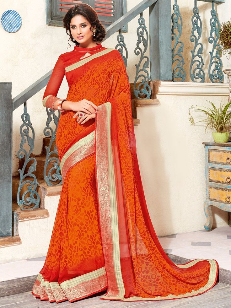 Georgette Orange Alluring Printed Saree