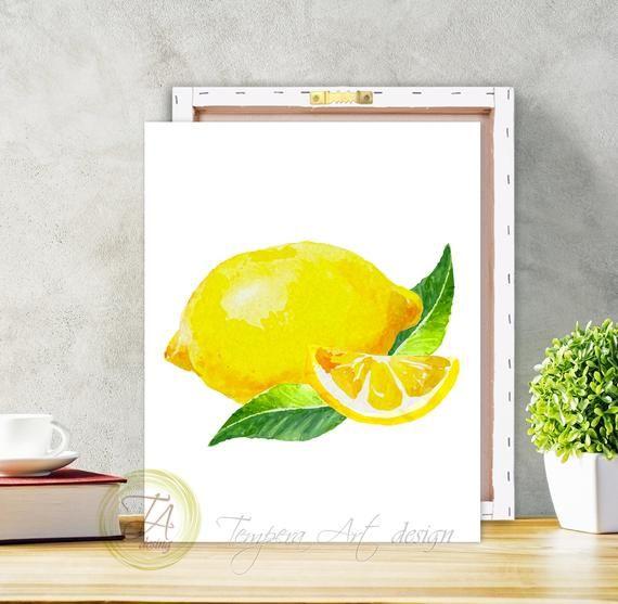 Lemon Canvas Lemon Print Lemon Decor Lemon Wall Art Etsy In 2020 Etsy Wall Art Lemon Art Lemon Decor