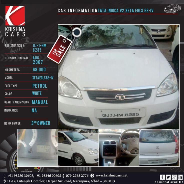 #usedCar for sale    CAR INFORMATION -  Tata Indica V2 XETA EGLS BS-IV REGISTRATION DATE -Aug-2007	 KILOMETERS - 68,000 MODEL - Xeta eGLS BS-IV FUEL TYPE - 	Petrol COLOR - white  GEAR TRANSMISSION - Manual INSURANCE - N/A	 NO OF OWNER - 3rd owner   #TATA #Indica #usedTata #usedIndica #Car #CarDealer #UsedCarDealer #PreOwnedCar #KrishnaCars #Ahmedabad