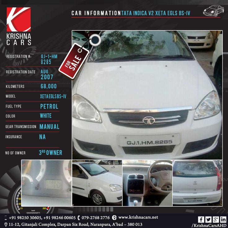 #usedCar for sale    CAR INFORMATION -  Tata Indica V2 XETA EGLS BS-IV REGISTRATION DATE -Aug-2007 KILOMETERS - 68,000 MODEL - Xeta eGLS BS-IV FUEL TYPE - Petrol COLOR - white  GEAR TRANSMISSION - Manual INSURANCE - N/A NO OF OWNER - 3rd owner   #TATA #Indica #usedTata #usedIndica #Car #CarDealer #UsedCarDealer #PreOwnedCar #KrishnaCars #Ahmedabad