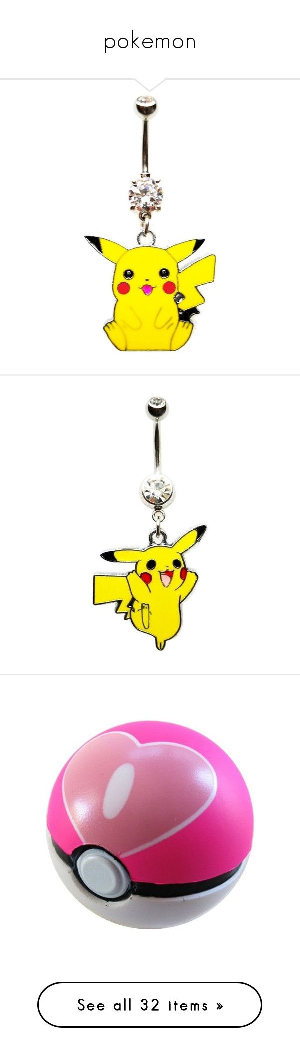 """pokemon"" by sweetcherrycola ❤ liked on Polyvore featuring jewelry, piercings, belly rings, belly button ring, yellow, body jewelry, cz jewellery, body jewellery, cubic zirconia jewelry and cz jewelry"