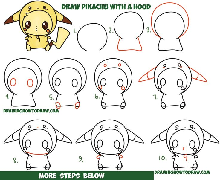 How to draw cute pikachu with costume hood from pokemon for Super easy drawings