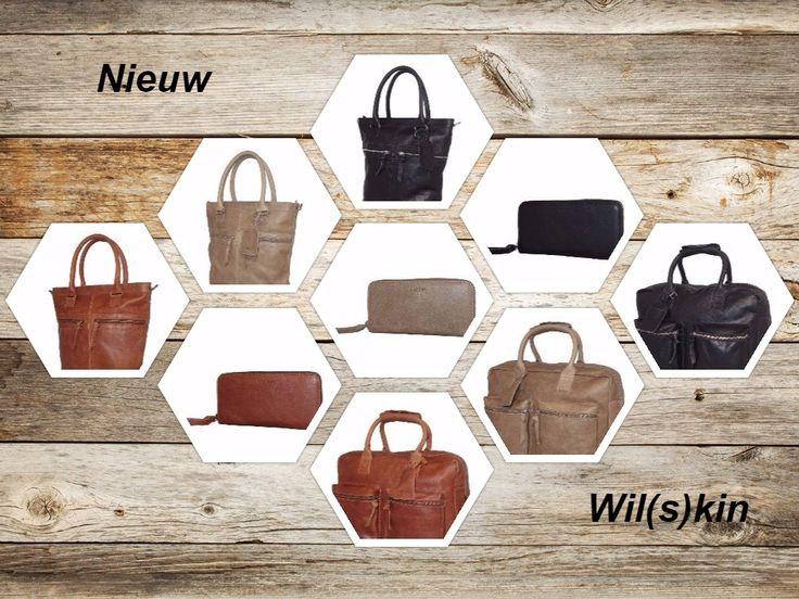 Wat vinden julliie van ons nieuwe merk Wil(s)kin? Drie verschillende kleuren, twee verschillende modellen tassen en een bijpassende portemonnee uitgevoerd in een pracht kwaliteit leer.