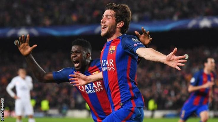 Sergi Roberto  Barcelona made Champions League history by becoming the first team to overturn a first-leg 4-0 deficit as they knocked out Paris St-Germain to reach the quarter-finals for the 10th successive season.  The Spanish champions were 5-3 down on aggregate in the 88th minute, but scored three goals in the final seven minutes