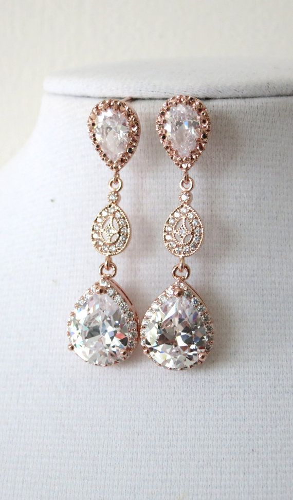 Rose Gold Luxe Cubic Zirconia Teardrop Earring by ColorMeMissy