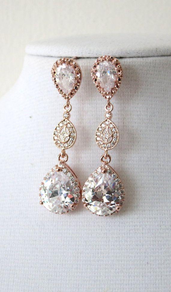Rose Gold Luxe Cubic Zirconia Teardrop Earring - earrings, bridal gifts, drop, dangle, rose gold wedding, blush, bridesmaid earrings, www.colormemissy.com