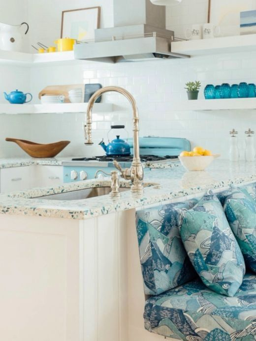 Blue And White Coastal Kitchen Design Ideas With Recycled Sea Gl Style Countertops By Vetrazzo Featured On Completely