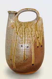 John Leach leather bottle pot