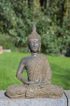 Boeddha Beeld Thai Small 30 cm, gegoten steen. www.beeldenvallei.nl