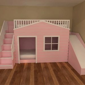 Playhouse Bunk Beds with slide Available in a variety of colours and designs with or without a slide This can also be ordered unpainted ready for you