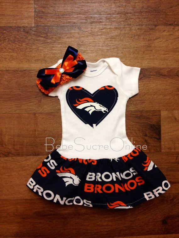Bonnie needs this. Denver Broncos Headband and Ruffle Bodysuit on Etsy, $30.00
