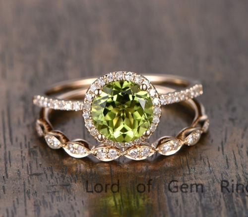 $629 Round Peridot Engagement Ring Sets Pave Diamond Wedding 14K Yellow Gold 7mm