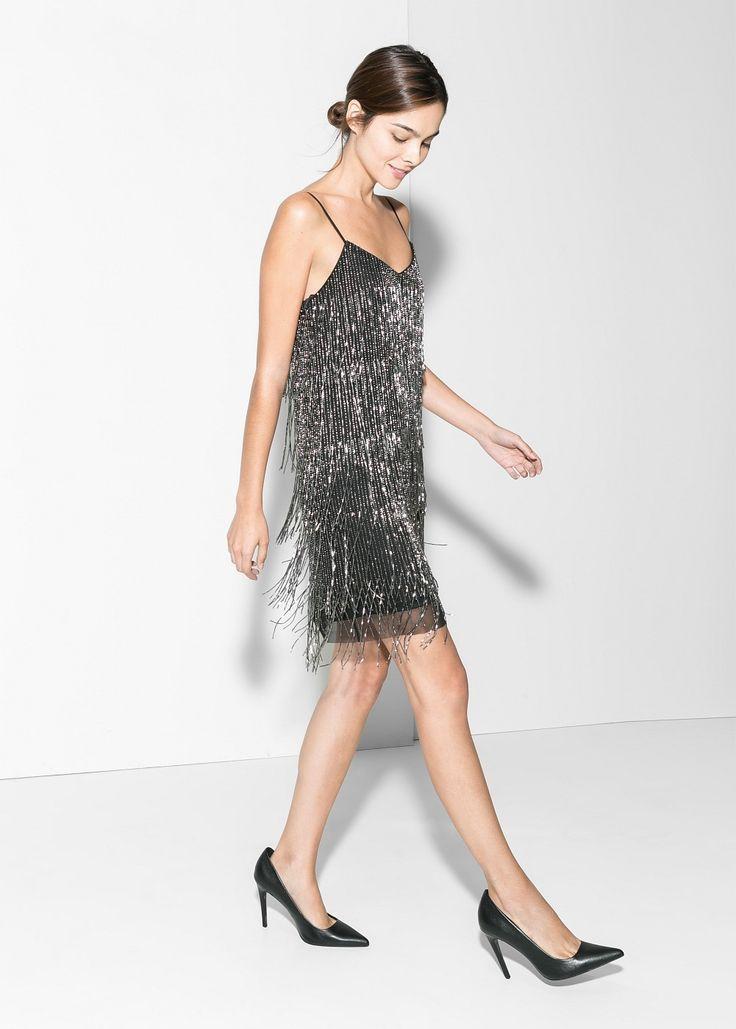 Fransenkleid mit perlen - Kleider für Damen | MANGO