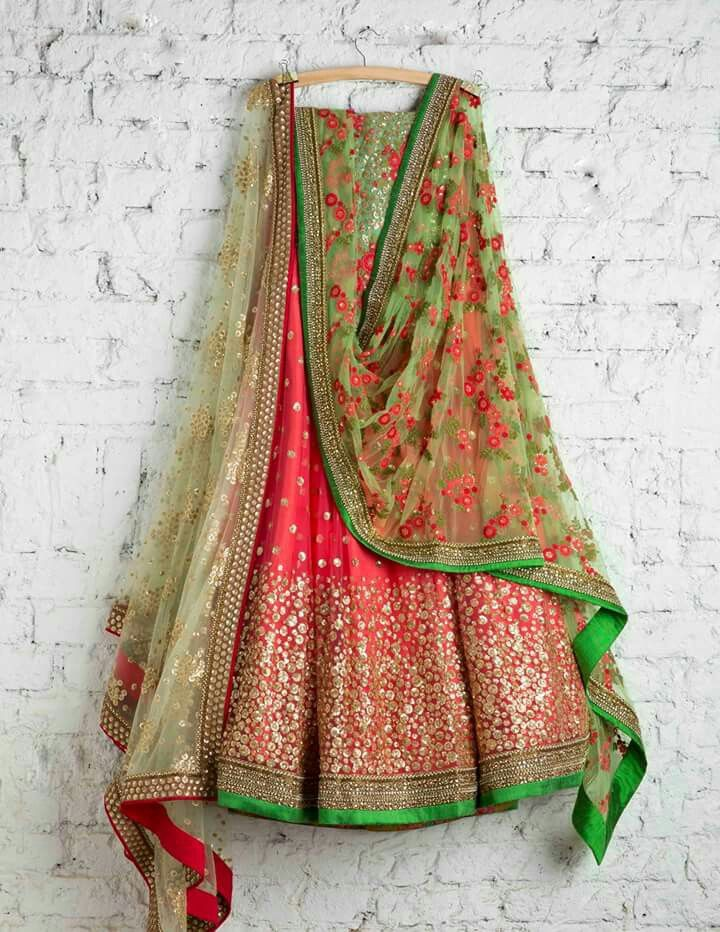 Spring lehenga, floral dupatta, red and green