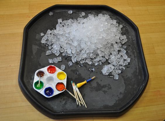 001Painting with Ice cubes Ice cubes are a fun alternative surface to paint on! Offer ice cubes in a large builders tray with some ready mixed paint and some paintbrushes. The children will love watching the colours run and mix together as the ice cube melts. Follow our hashtag #AfternoonActivityTime to follow all the exciting …