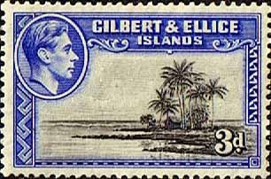 Gilbert and Ellice Islands 1939 SG 48 Seascape and Palm Trees Fine Mint SG 48 Scott 45 Other Gilbert and Ellice Islands Stamps HERE