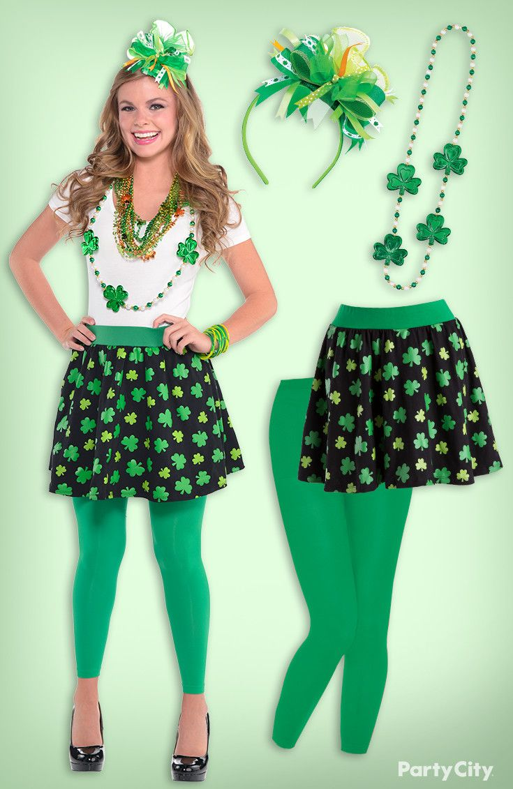 Calling all shamrock sweeties: dress the part with this posh St. Patrick's Day outfit! Green leggings and a black shamrock skirt pair perfectly with our adorable ribbon headband and beaded necklaces.