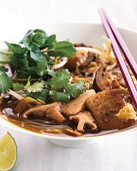 Tofu, Eggplant and Shiitake Noodle Soup | To simplify this Cambodian noodle soup, we added fewer vegetables to store-bought vegetable broth.