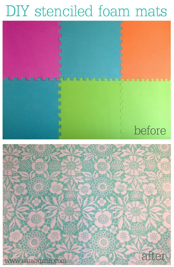 Stenciled foam floor mats using Royal Design Studio's skylar's lace stencil.