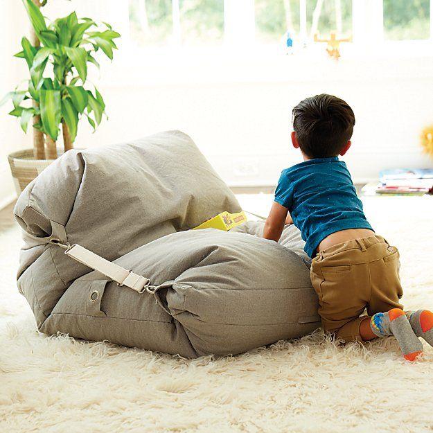 Adjustable Light Grey Bean Bag Chair | The Land of Nod