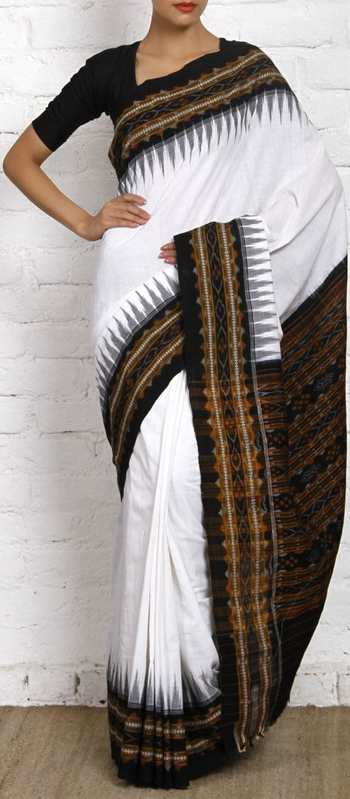 Black & White Ikat Cotton Saree