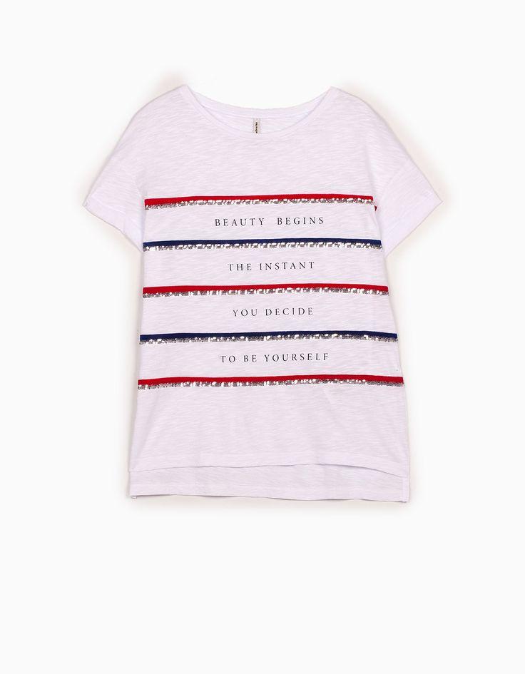 Stradivarius Colombia Camiseta lentejuelas - STAY - MUJER…