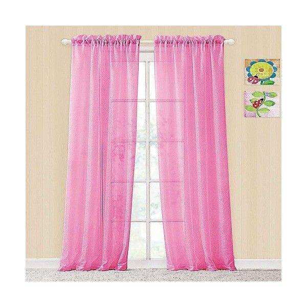 Colette Rod Pocket Panel Pair - Pink ($20) ❤ liked on Polyvore featuring home, home decor, window treatments, curtains, pink, target curtains, semi sheer panels, pink window treatments, pink curtains and rod pocket valances