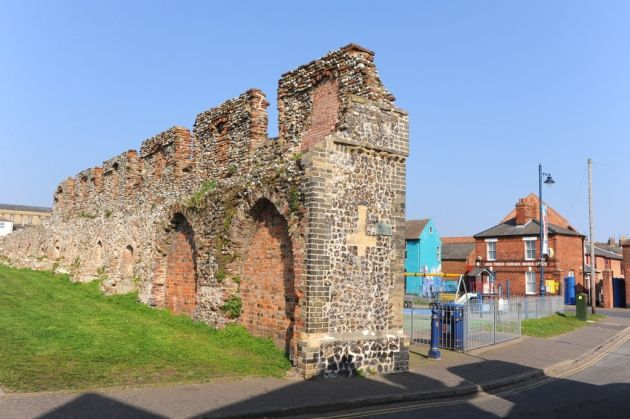 The remains of the town wall in Great Yarmouth near Blackfriars Road.