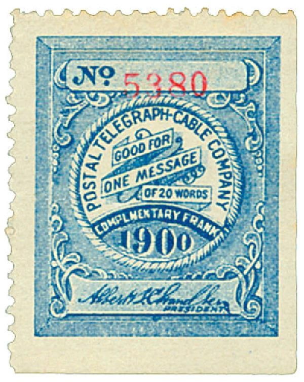 Telegraph stamp for Postal Telegraph Cable Company.
