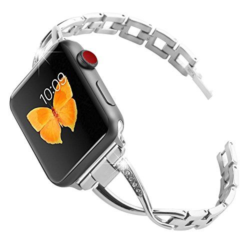 From 18.99 Moretek Strap For Apple Watch Series 1 & 2 & 3 38mm All Edition - Women Stainless Steel Crystal Diamond Replacement Bracelet Accessories Bands (38mm Fine Silver)