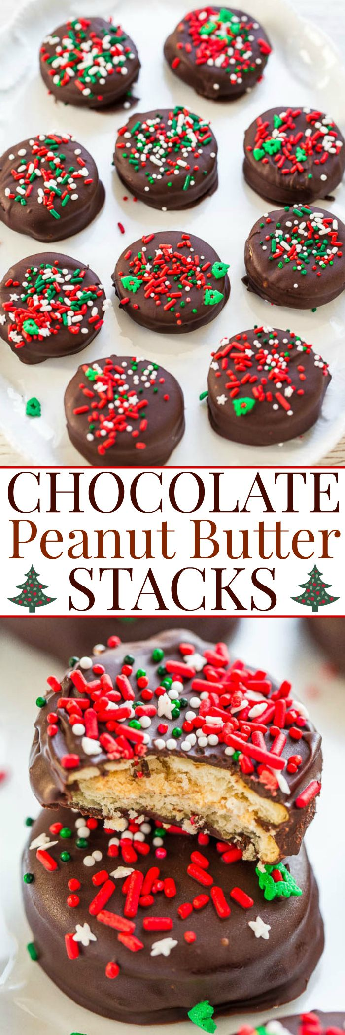 Chocolate Peanut Butter Stacks - EASY, NO-BAKE treats that are a holiday favorite!! They have it all: Salty, sweet, crunchy, and gooey with chocolate and peanut butter! Great for cookie exchanges or impromptu parties!!