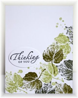 handmade card from Scrappin' and Stampin' in GJ ... one layer card ... French leaves stamped in shades of green ...  luv the look ... Stampin' Up!