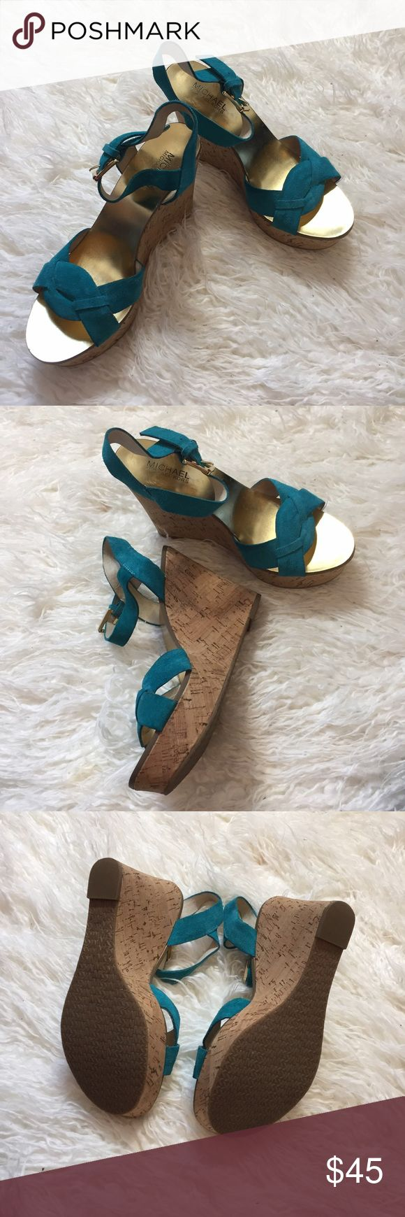 michael kors turquoise wedges turquoise & gold michael kors wedges  worn 1x for an invent. hardly any signs of wear, clean bottoms  size 7.5 Michael Kors Shoes Wedges