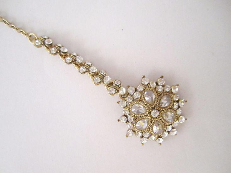 Gold Antique Headpiece Tikka/Indian Tikka/Gold Polish Tikka/South Indian Tikka jewelry/Bollywood Tikka Jewelry/ Indian Jewelry Online by BeautycollectionIN on Etsy