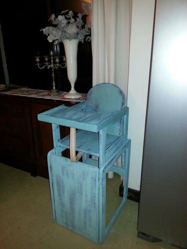 Annie Sloane chalk paint gave this high chair a new lease on life. And food wipes off soooooo easily :) bonus!
