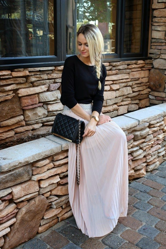 Plain long sleeve with pleated maxi skirt                                                                                                                                                                                 More