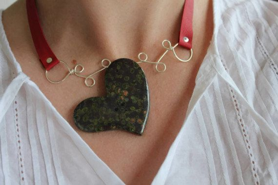 Stone Choker Necklace Sterling Silver Red Leather by storyleaf, $58.00