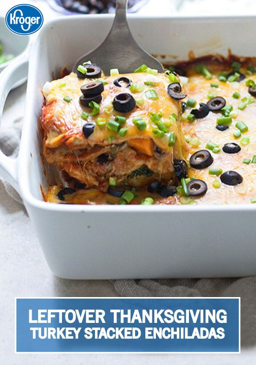Leftover Turkey Stacked Enchiladas with Sweet Potato, Black Beans and ...