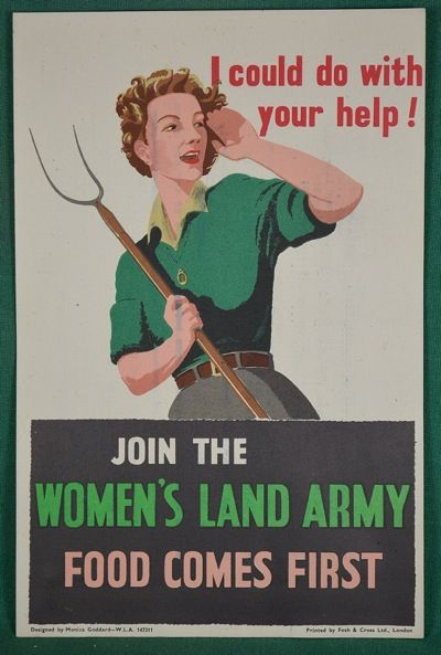 Womens land army world war two propaganda poster uk