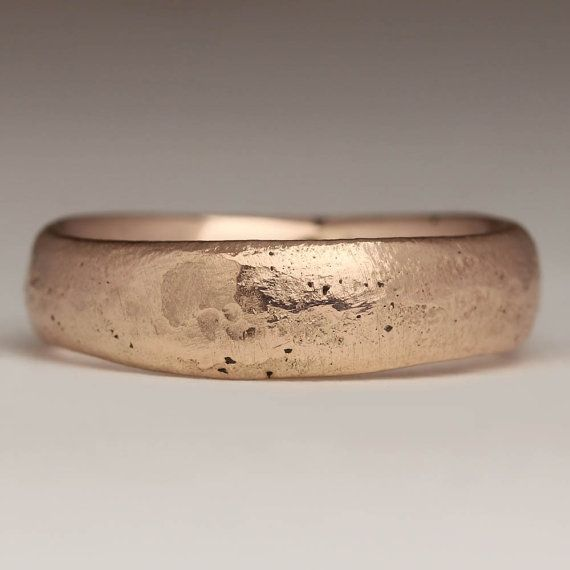 9ct Red Gold Unusual Wedding Ring Sand Cast Waved by JustinDuance