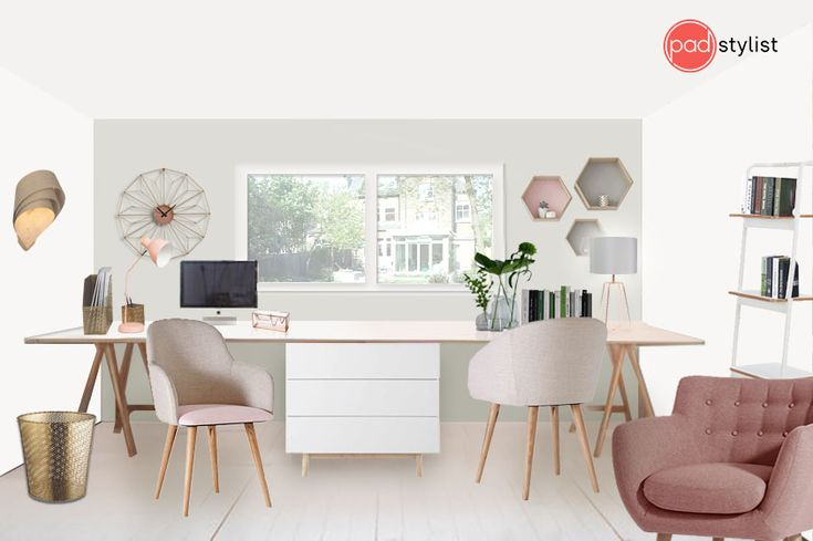 This beautiful home office is mixing cocoa powder and nutmeg white wall colours with subtle accents of pink and copper. Shelves and drawers provide enough practical storage. An armchair creates a chilling zone, perfect for when you get tired of sitting at a day.