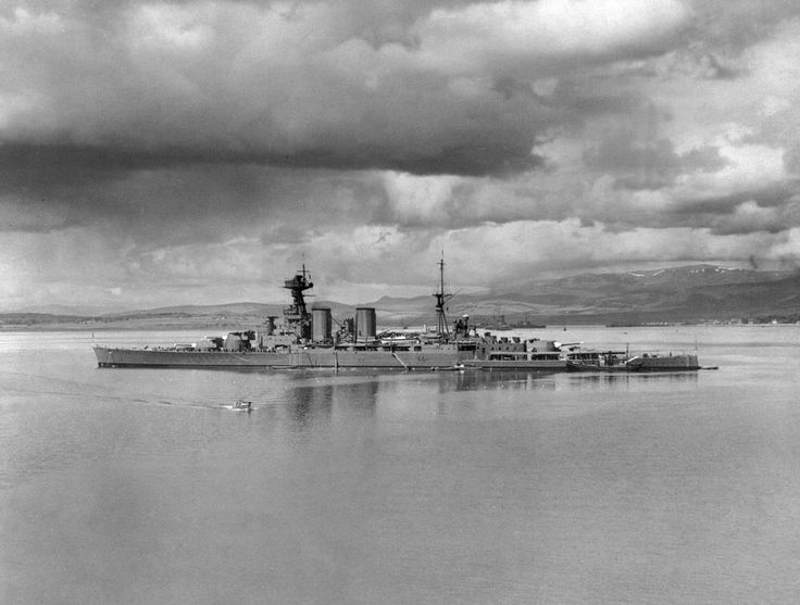 Iconic 15 in battlecruiser HMS Hood at Scapa Flow in 1940: the following year she succumbed to the much more modern German battleship Bismarck after a few salvoes. There were only 3 survivors.