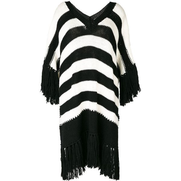 Ermanno Scervino fringed striped jumper ($445) ❤ liked on Polyvore featuring tops, sweaters, black, striped jumper, fringe sweaters, stripe sweater, multi stripe sweater and jumpers sweaters