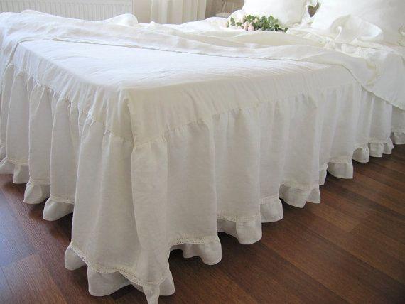 Off White Ivory Linen Dust Ruffle Bedskirt Base Coverlet