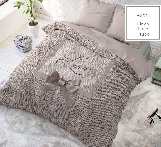Bavlnené posteľné obliečky 200x220 béžovej farby s nápisom