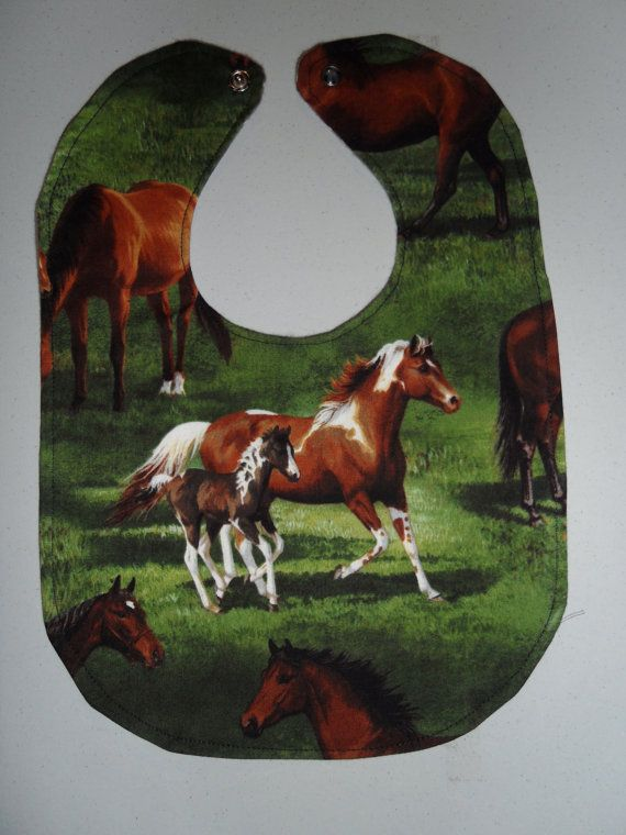Meadow Paint Horse Baby Bib by StarBoundWestern on Etsy, $6.00
