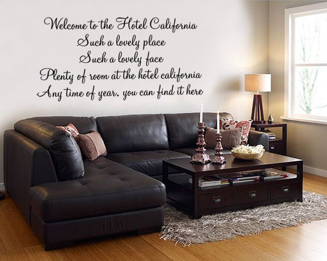 Hotel California The Eagles Lyric Wall Decal Sticker Quote