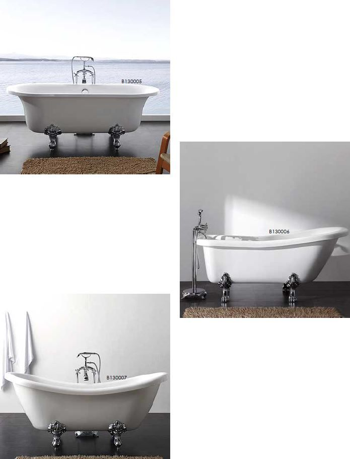 A variety of white acrylic freestanding bathtubs with adjustable claw foot