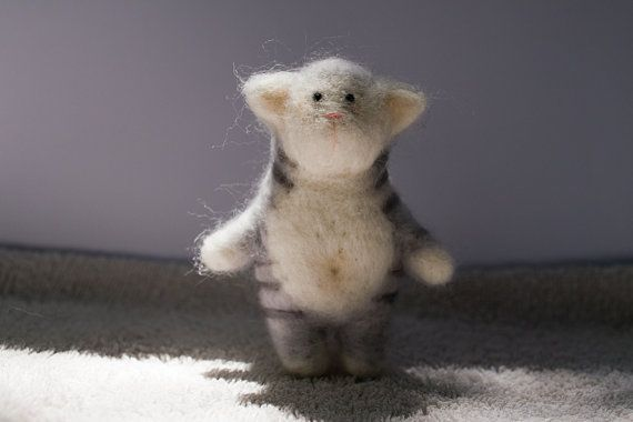 Felted little cat by totootse on Etsy,